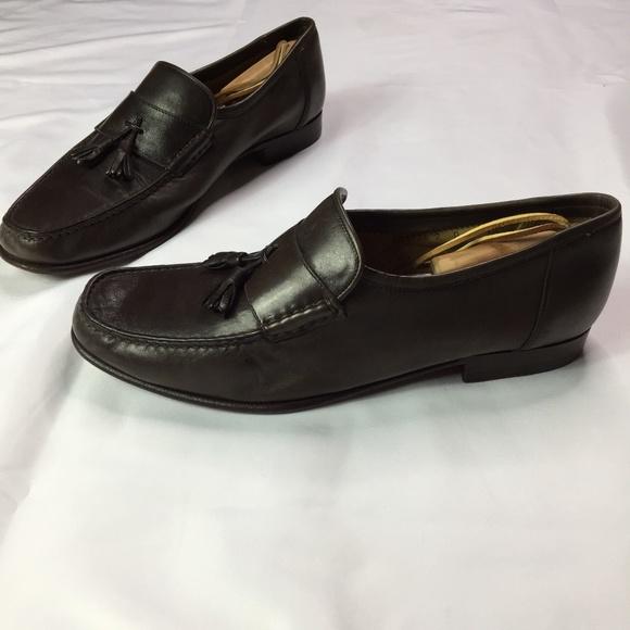f040e8c21dc Santoni Brown Leather Tassel Slip On Loafers 10.5D